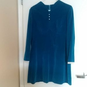 Vintage Turquoise Blue Dress 70s style